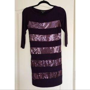 3/4 Sleeve Purple Metallic Sequin Dress